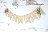 Fiesta Birthday Decor, Cactus Personalized Banner