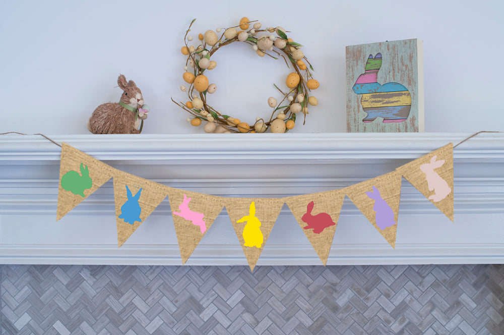 Easter Decor, Cardstock Bunnies Banner