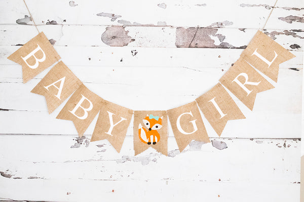 Baby Shower Decor, Woodland Fox Baby Girl Banner