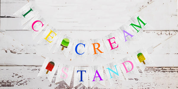 Popsicle Birthday Decor, Cardstock Ice Cream Stand Banner