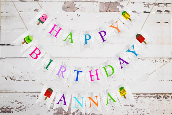 Summer Birthday Decor, Popsicle Happy Birthday Personalized Cardstock Banner