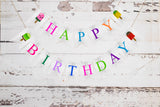 Ice Cream Birthday Decor, Cardstock Popsicle Happy Birthday Banner