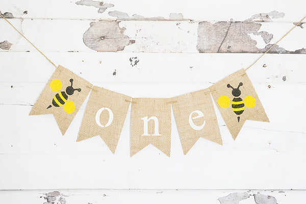 1st Birthday Decor, Bumble Bee One Banner