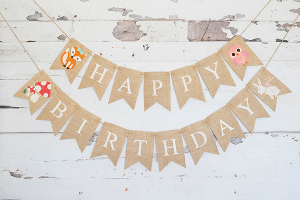 Woodland Birthday Decor, Fox, Bunny, Mushroom Happy Birthday Banner