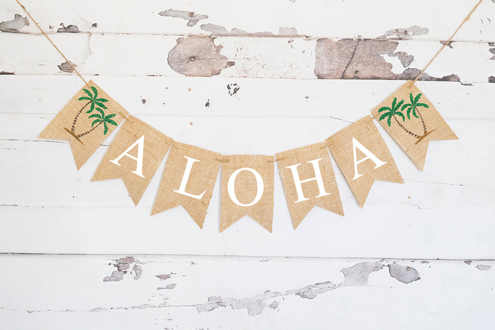 Hawaiian Birthday Decor, Tropical Aloha Banner
