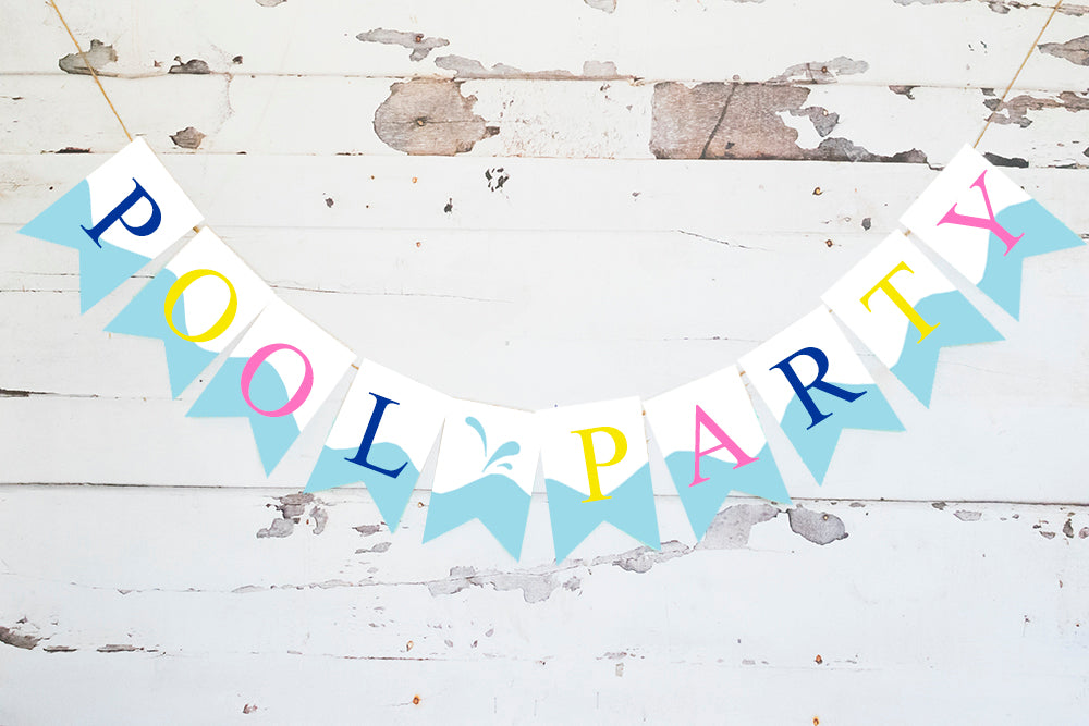 Summer Birthday Decor, Cardstock Pool Party Banner