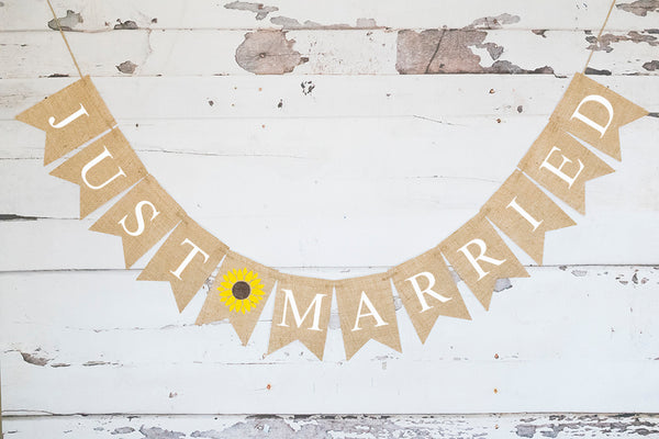 Wedding Decor, Sunflower Just Married Banner