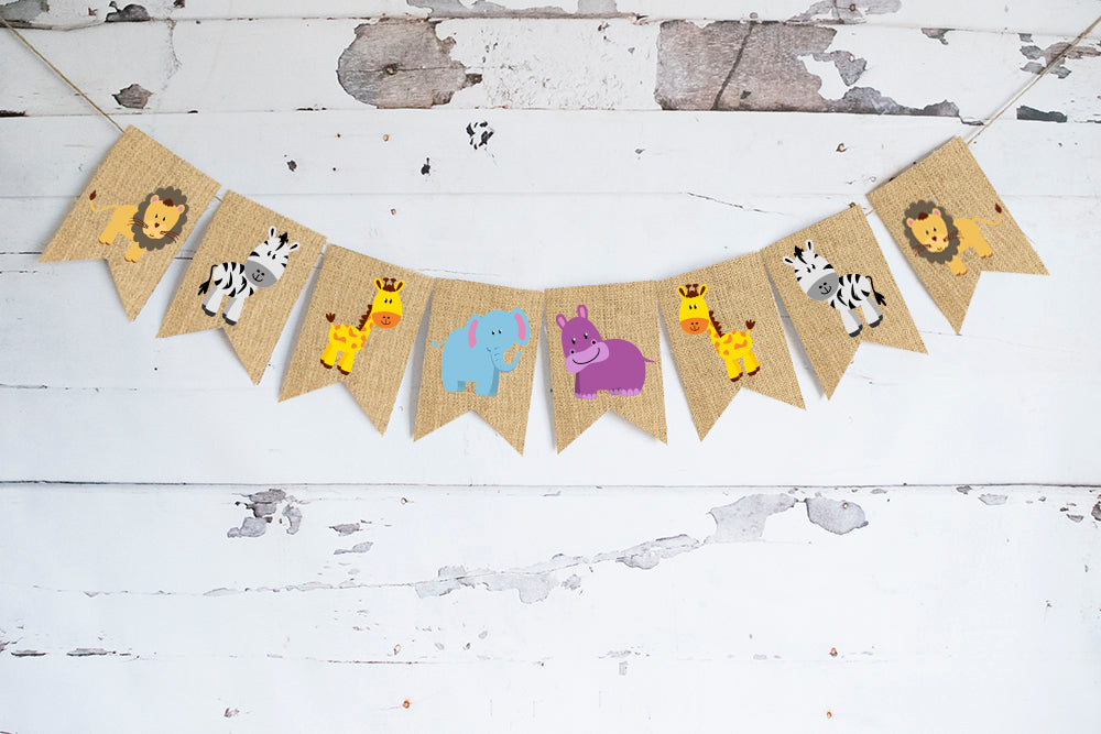 Jungle Birthday Decor, Lion, Elephant Safari Animals Cardstock Banner