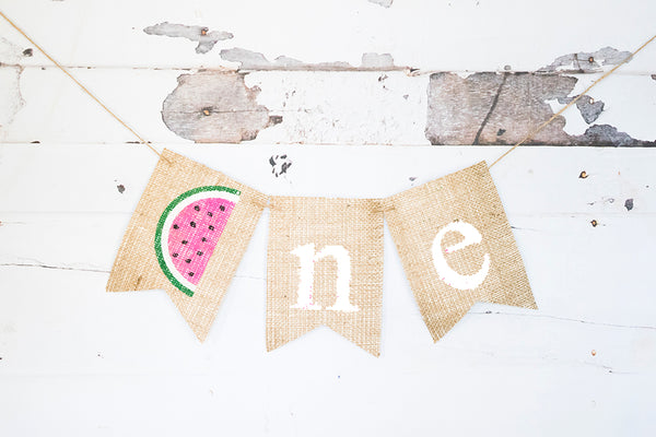 1st Birthday Decor, Watermelon One Banner