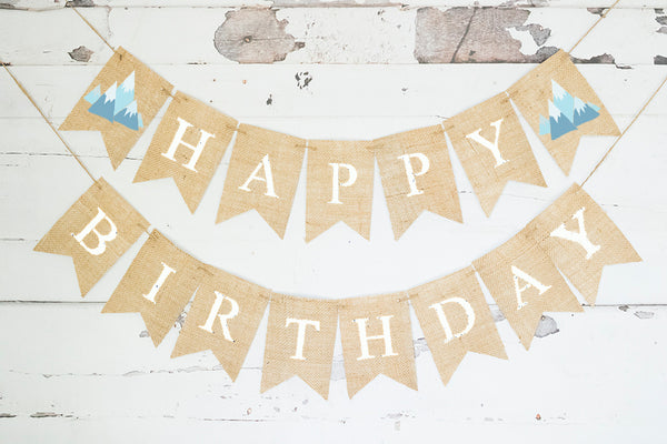 Boho Birthday Decor, Tribal Adventure Mountain Happy Birthday Banner