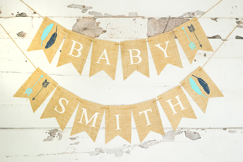 Baby Shower Decor, Personalized Tribal Banner