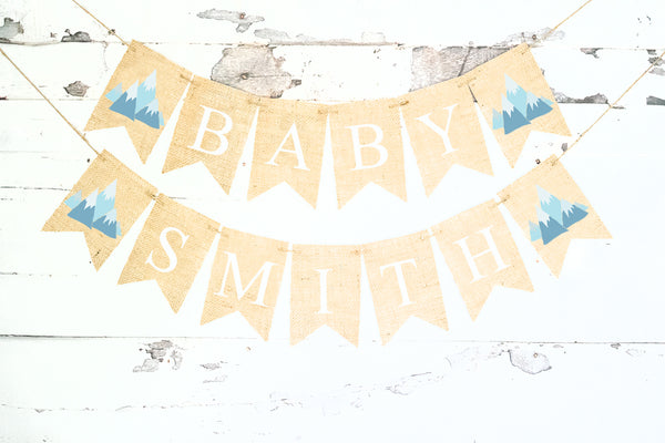 Tribal Baby Shower Decor, Mountain Personalized Banner