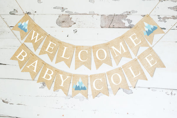 Baby Shower Decor, Tribal Welcome Baby Personalized Banner