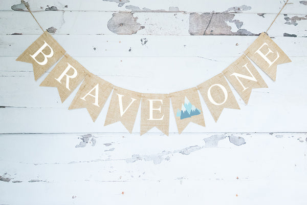 1st Birthday Decor, Tribal Mountain Brave One Banner