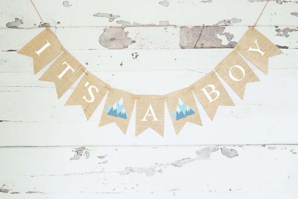 Tribal Baby Shower Decor, It's A Boy Teepee Banner