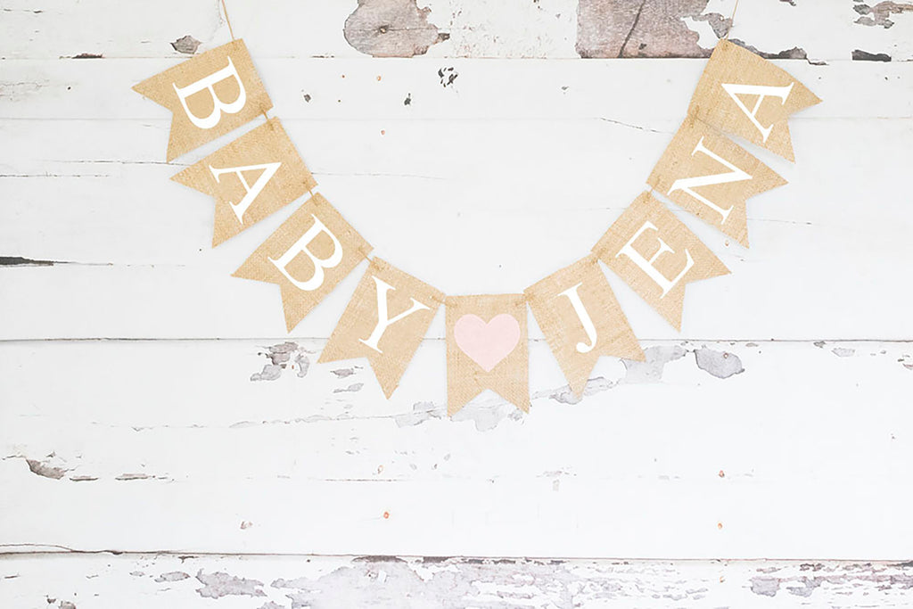 Baby Shower Decor, Pink Heart Personalized Banner