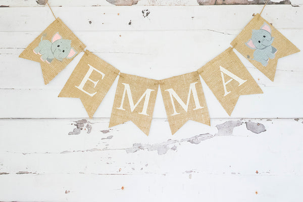Baby Shower Decor, Pink Elephant Personalized Banner