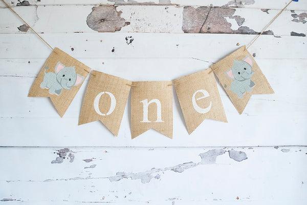 1st Birthday Decor, Elephant One Banner