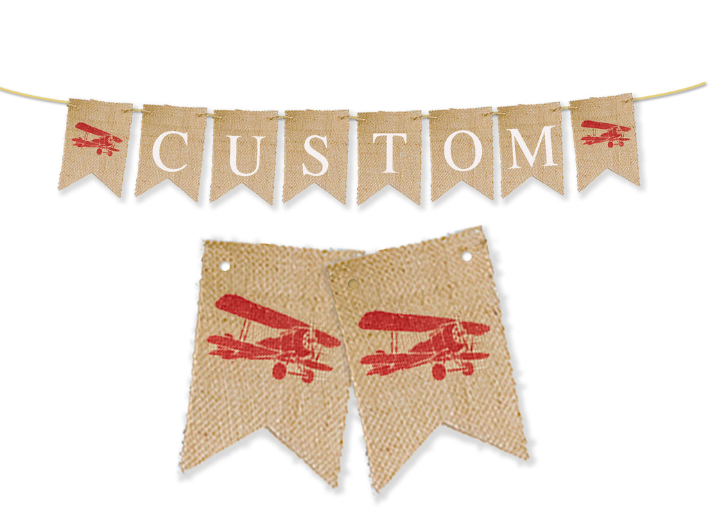 Custom Vintage Airplane Birthday Decor, Personalized Plane Banner