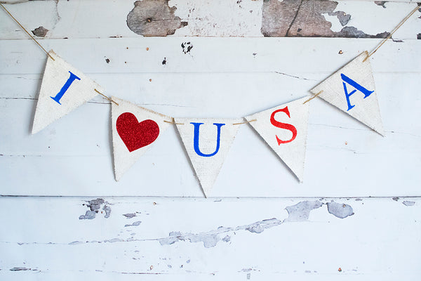 4th of July Decor, Cardstock I Love USA Banner