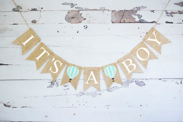 Hot Air Balloon Gender Reveal Decor, It's A Boy Banner