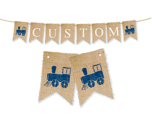 Custom Birthday Decor, Vintage Train Personalized Banner