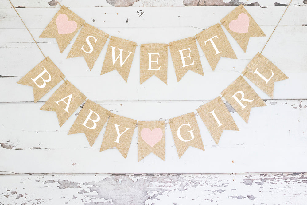 Baby Shower Decor, Pink Heart Sweet Baby Girl Banner