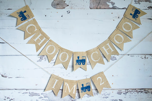 Train Birthday Decor, Choo Choo I'm 2 Vintage Train Banner