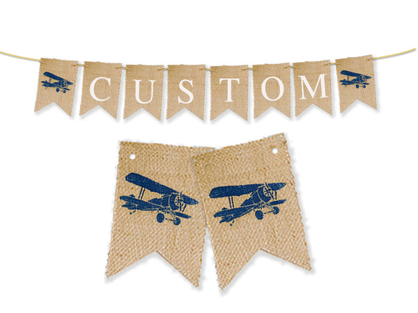 Custom Birthday Decor, Personalized Vintage Airplane Banner