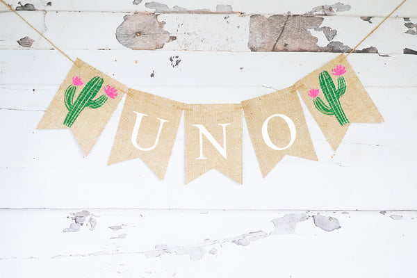 1st Birthday Decor, Fiesta Cactus Uno Banner