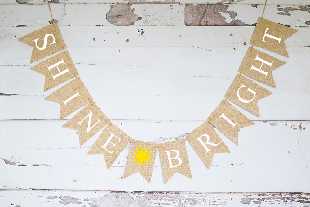 Birthday Decor, Sunshine Shine Bright Banner