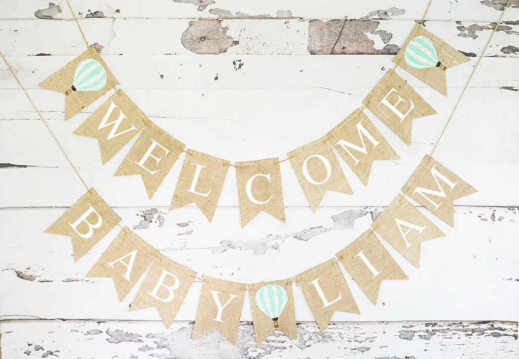 Baby Shower Decor, Welcome Baby Hot Air Balloon Personalized Banner