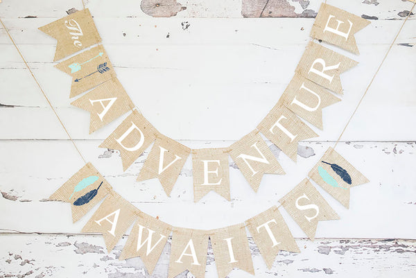 Baby Shower Decor, Tribal The Adventure Begins Banner
