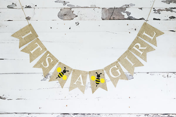 Baby Shower Decor, It's A Girl Bumble Bee Banner