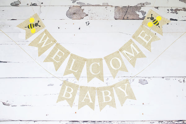 Baby Shower Decor, Welcome Baby Bumble Bee Banner