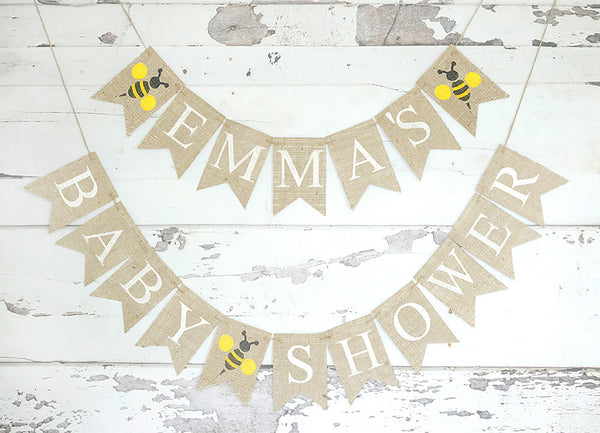 Baby Shower Decor, Personalized Bumble Bee Baby Shower Banner