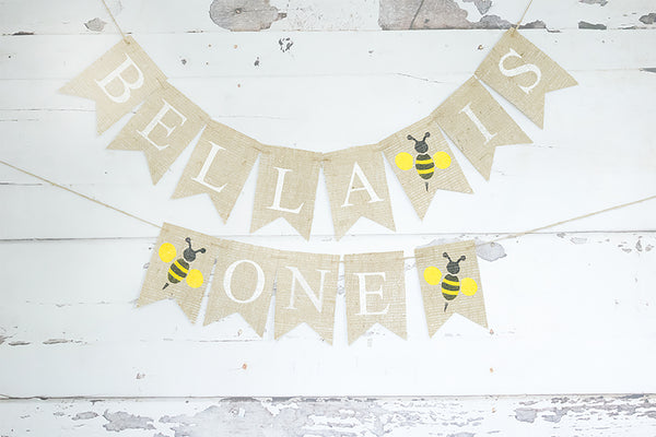 1st Birthday Decor, Personalized Bumble Bee Banner