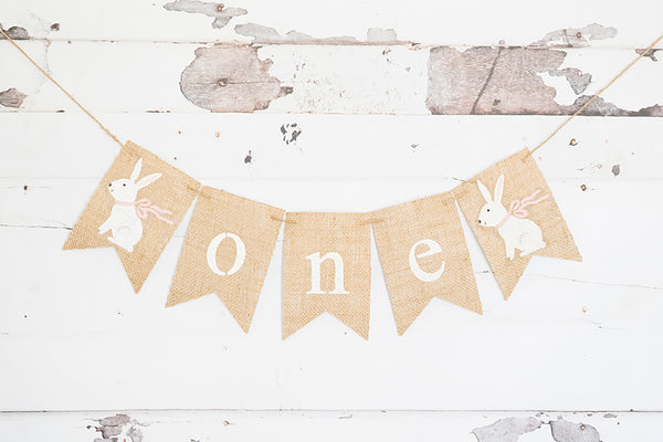 Pink Ribbon Bunny One Banner | Easter First Birthday Party Decor
