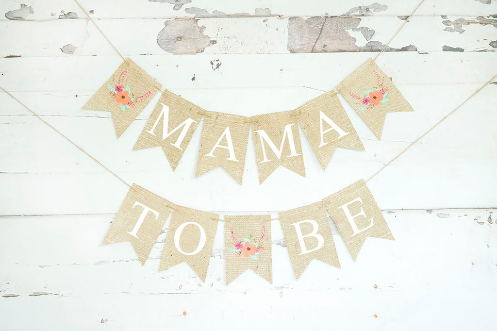 Baby Shower Decor, Mama to Be Floral Banner