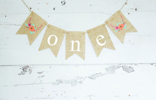 1st Birthday Decor, Floral One Banner