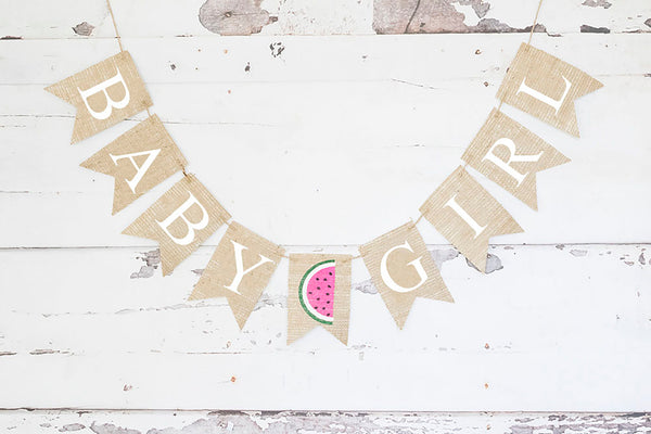 Baby Shower Decor, Watermelon Baby Girl Banner