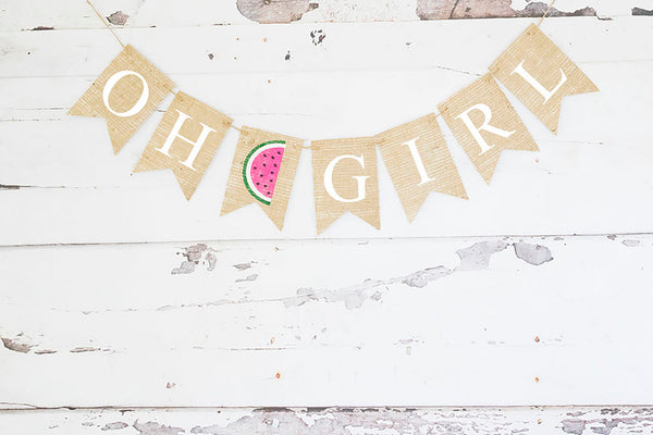 Baby Shower Decor, Tutti Frutti Oh Girl Watermelon Banner