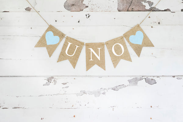 1st Birthday Decor, Blue Uno Banner