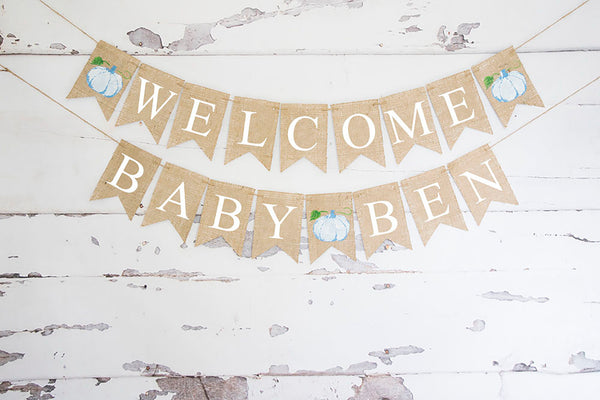 Baby Shower Decor, Welcome Baby Blue Pumpkin Personalized Banner