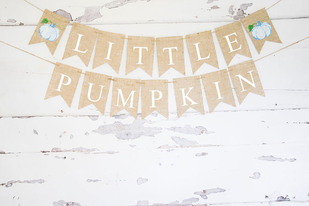 Baby Shower Decor, Blue Little Pumpkin Banner