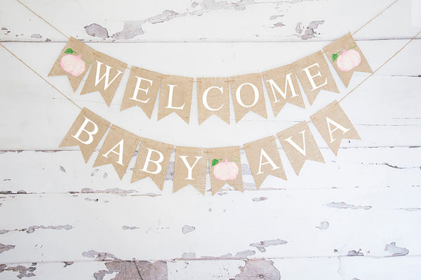 Baby Shower Decor, Welcome Baby Pink Pumpkin Personalized Baby Banner