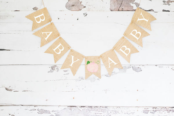 Personalized Decor, Pink Pumpkin Baby Banner