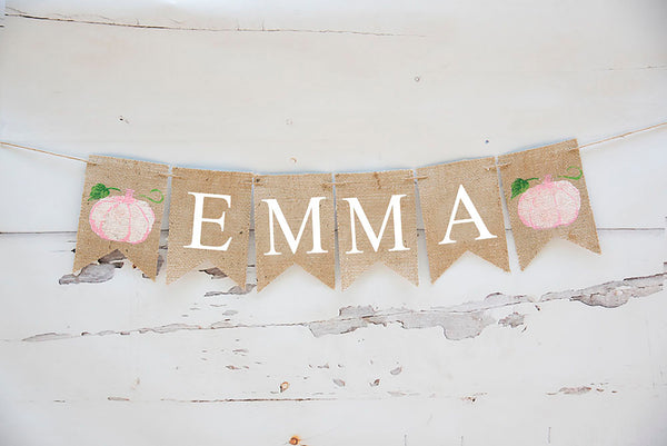 Personalized Decor, Custom Pink Pumpkin Banner