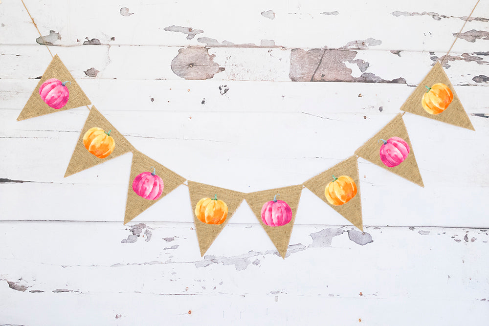 Fall Baby Shower Decor, Cardstock Pink & Orange Pumpkins Banner