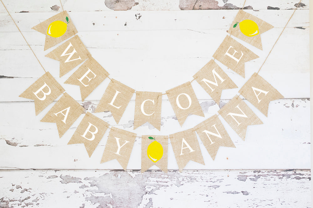 Baby Shower Decor, Welcome Baby Lemon Personalized Banner